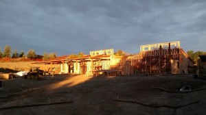Construction Site - Camp of the Cross Lodge at Sunrise, Photo by:  Sue Ost (Mission Builder)